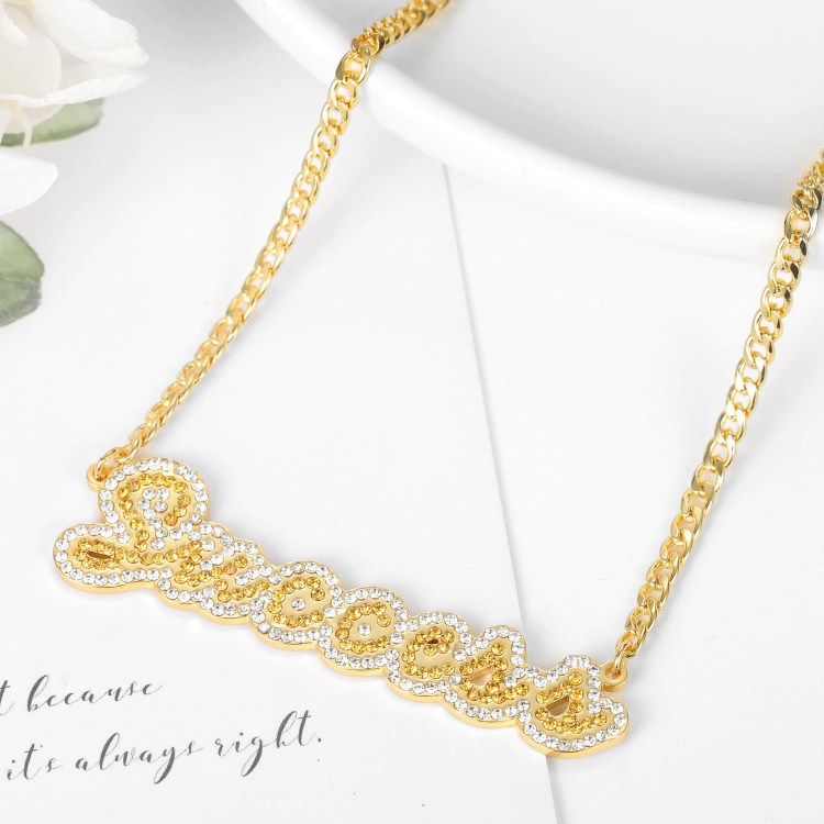 two tone crystal cz iced out name necklace for women in gold color