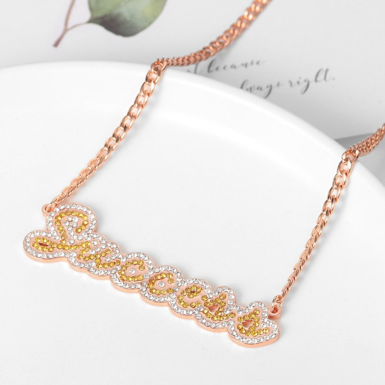 two tone iced out crystal bling hip hop fashion name necklace with success name personalized custom