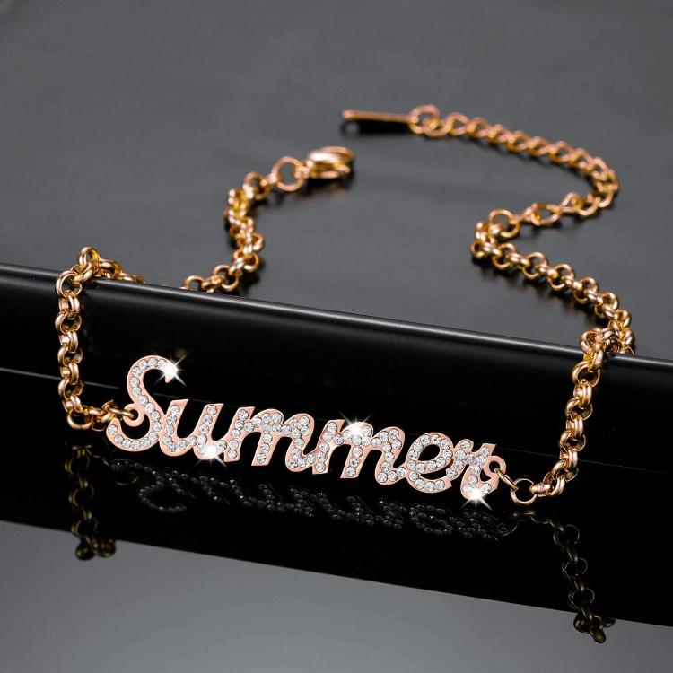 18cm Custom Name Rose Gold Color Plated Stainless Steel Single Name Bracelet For Teenage Girl Sparkling Custom Name Bracelet For Young Looking Women
