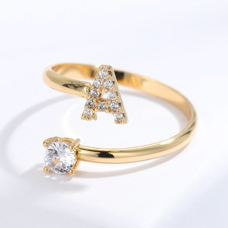 English Custom Letter Ring For Ladies Gold Silver Rose Gold Initial Ring