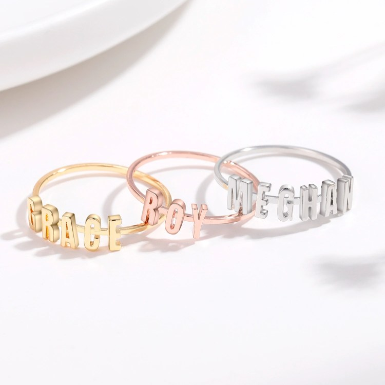 Gold Silver Rose Gold Color Plated High Quality Custom Name Ring For Girls