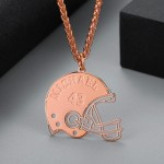 Rose Gold Custom Made American Football Player Helmet Name Necklace Player Number Necklace Personalized Bespoke Jewelry Designs For Men