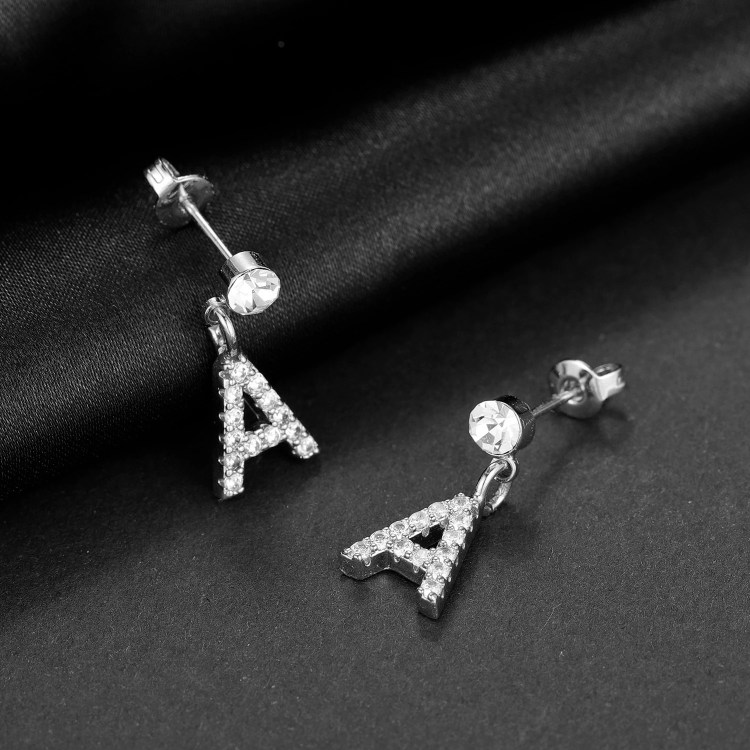 Silver Color Plated Crystal Inlaid Personalized Custom Jewelry For Women Simple Letter Stud Earring For Teenage Girls Jewelry For Party Outfits
