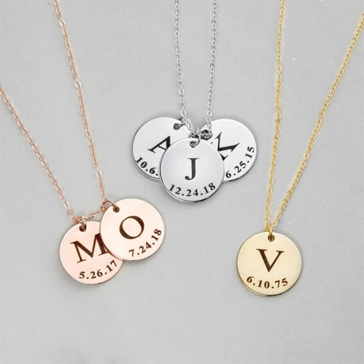 Tiny Gold Silver Rose Gold Custom Pendant English Single Letter Pendant Necklace Link Chain Simple Jewelry For Women 1 English Letter Necklace For Casual Jewelry Lovers
