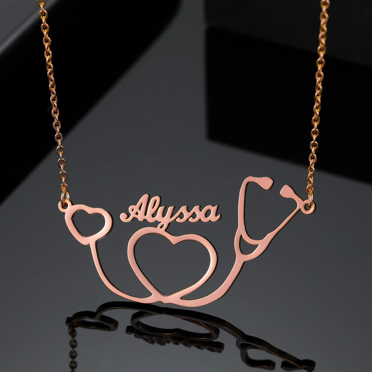Custom Made Rose Gold Name Necklace With Stethoscope Pendant Premium Quality Jewelry Gift For Health Care Staff Member Medical Student On Her Birthday Promotion Day An Inspiring Gift