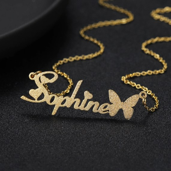 Gold Color Plated Custom Name Necklace Personalized Jewelry For Women Premium Quality Jewelry For Girls And Young Women Casual Name Necklace With Frosted Butterfly