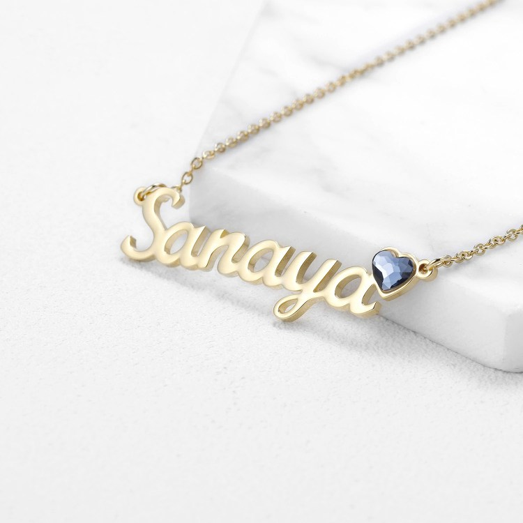 Heart Birthstone Custom Name Necklace Personalized Name Necklace For Simple Bling Crystal Jewelry Lovers Necklace With My Name Pendant Casual Name Necklace For Ladies