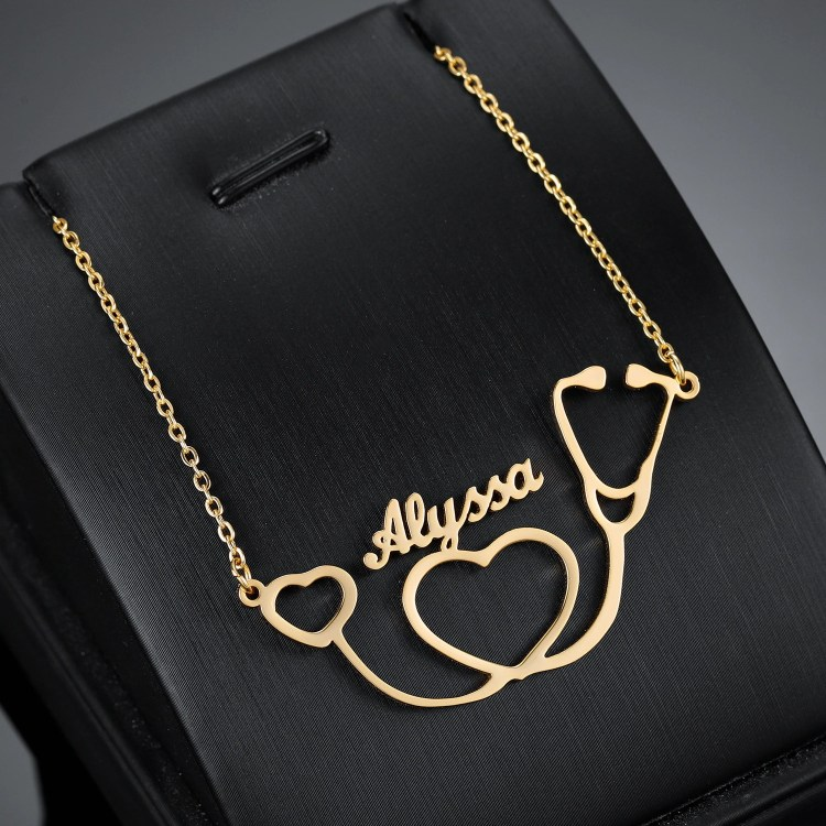 Personalized Stethoscope Custom Single Name Necklace Crafted Name Necklace For Health Care Employees Best Quality Heart Shaped Pendant Chain For Medical Outfits Uniforms And Office Kits