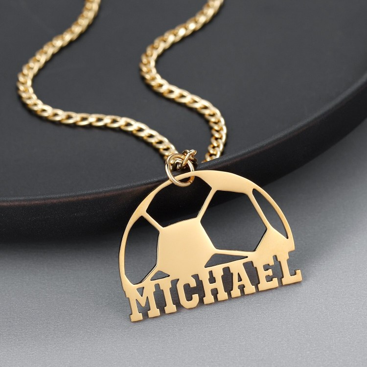 Custom Football Name Necklace High Quality Football Pendant Name Charm Personalized Block Capital Name Necklace Mitchell Name Necklace For Men And Women Single Name Charm Chain For Players