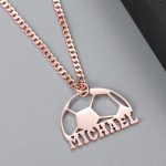 Rose Gold Custom Name Necklace Football Player Name Necklace Soccer Player Necklace Beceff Necklace Sport Jewelry For Football Lover Half Football Nameplate Pendant Necklace For Soccer Season