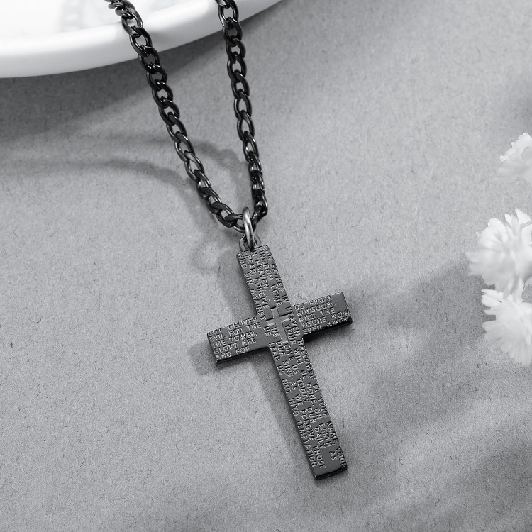 Simple Looking Frosted Catholic Cross Necklace High Quality Stainless Steel Jewelry Necklace Gift For Christmas Jesus Blessings Cross Necklace Unique Gift To Christian