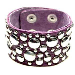 Lederen studs armband paars