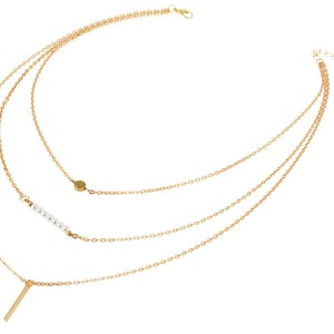 Layered ketting goud met pareltjes