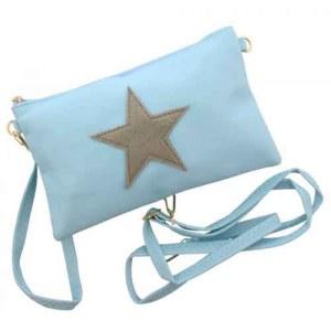 Crossbody tasje licht blauw met ster