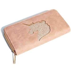 Glitter Unicorn antique roze wallet