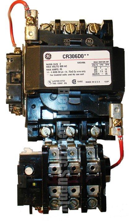 110v Motor Wiring Diagram Starter Magnetic Size 2 Open Type Ge Cr306d002