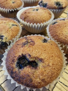 Blueberry Muffins made with Beck's Farm-Style Baking Mix