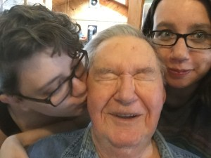 Selfie with me, Dad, and Rachel, just a few months ago.