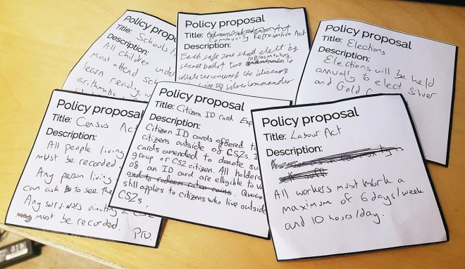 Gold Command policies from the Aftermath Megagame