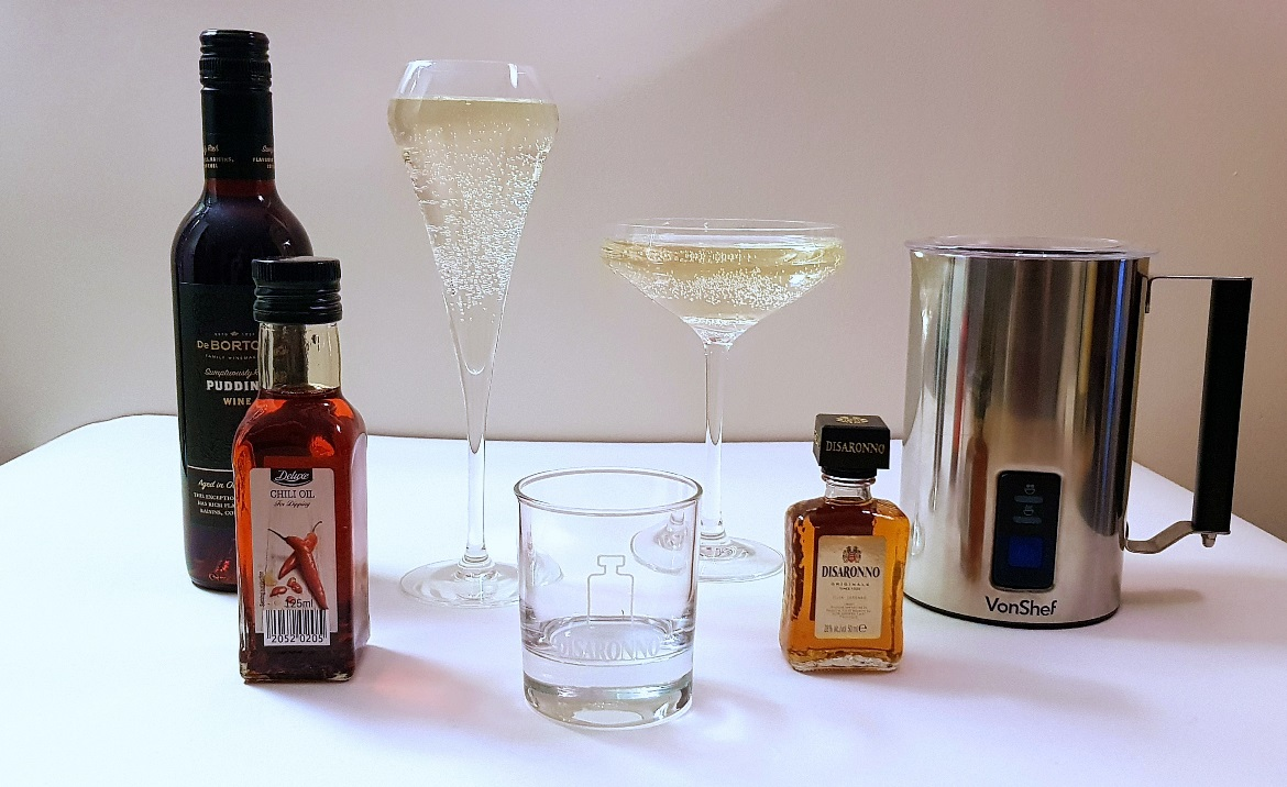 Champagne glasses, dessert wine, chilli oil, milk frother - Christmas Presents Round Up by BeckyBecky Blogs