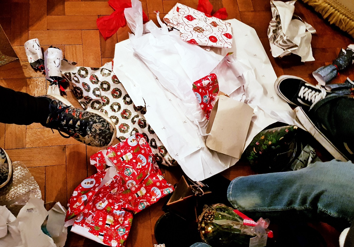 Christmas paper on the floor - December Monthly Recap by BeckyBecky Blogs