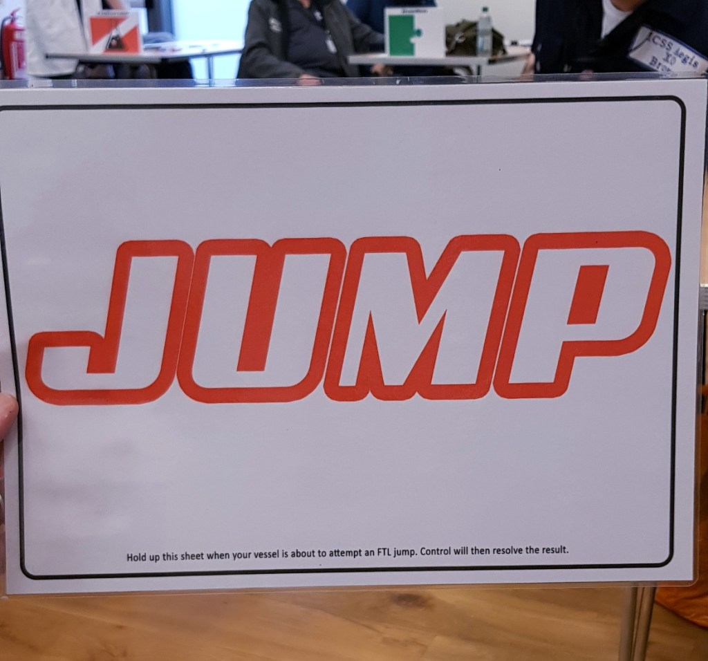 Jump sign - Den of Wolves megagame after action report by BeckyBecky Blogs
