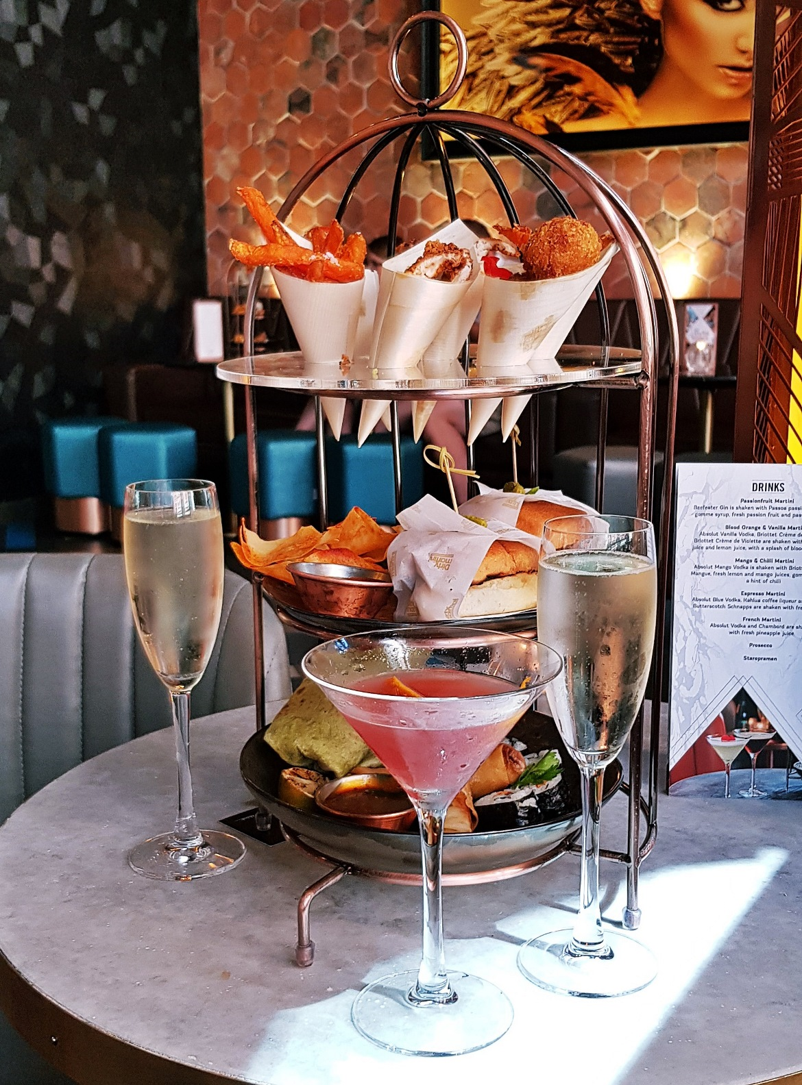 Food in a birdcage - Bottomless Brunch at Dirty Martini, review by BeckyBecky Blogs