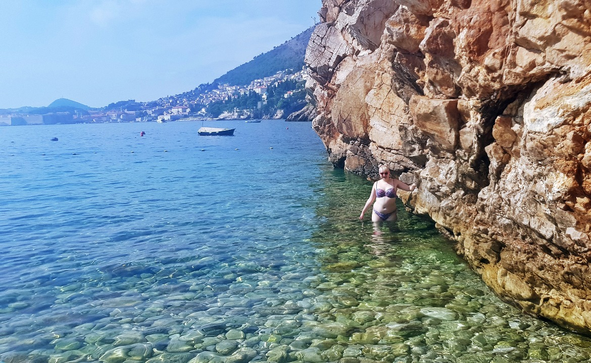 Posing at Sveti Jakov beach - Sightseeing in Dubrovnik, Croatia - Top Travel Tips by BeckyBecky Blogs