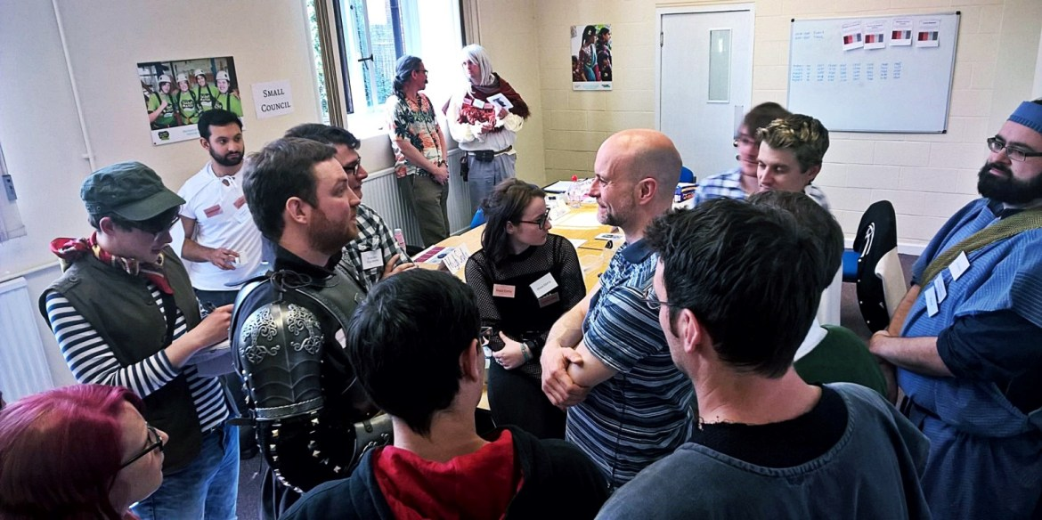 Players amassing in the Throne Room at Everybody Dies Harder, a Game of Thrones megagame - Game of Alchemy, and the difference between LARP and Megagames by BeckyBecky Blogs