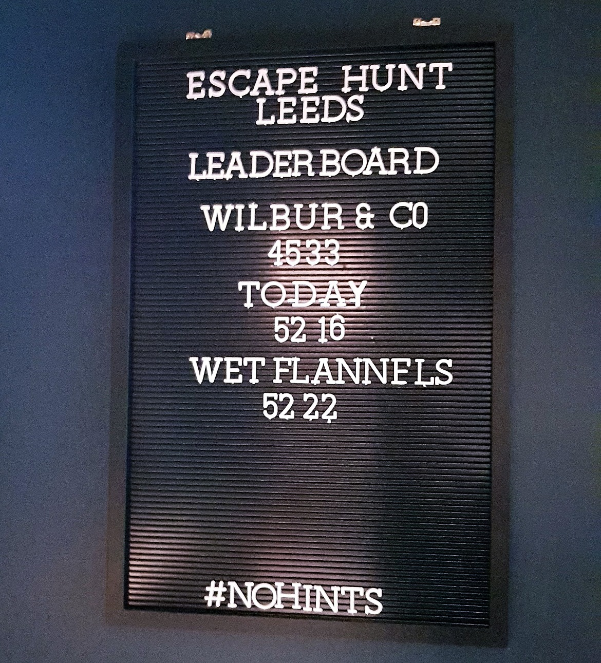 Top 3 leader board before - Our Finest Hour, escape room by Escape Hunt Leeds, review by BeckyBecky Blogs