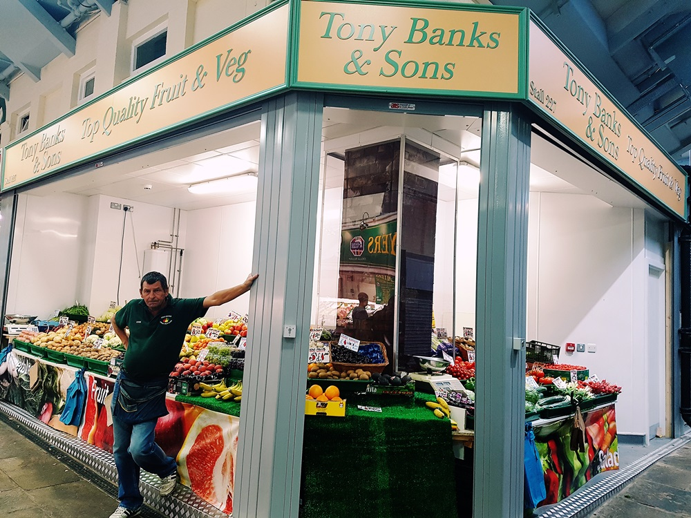 Tons of fruit and veg at Tony Banks & Sons at Kirkgate Market in Leeds