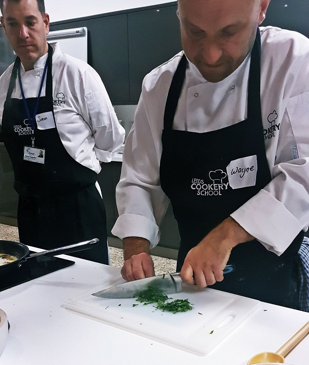 Chopping chives - Leeds Cookery School review by BeckyBecky Blogs