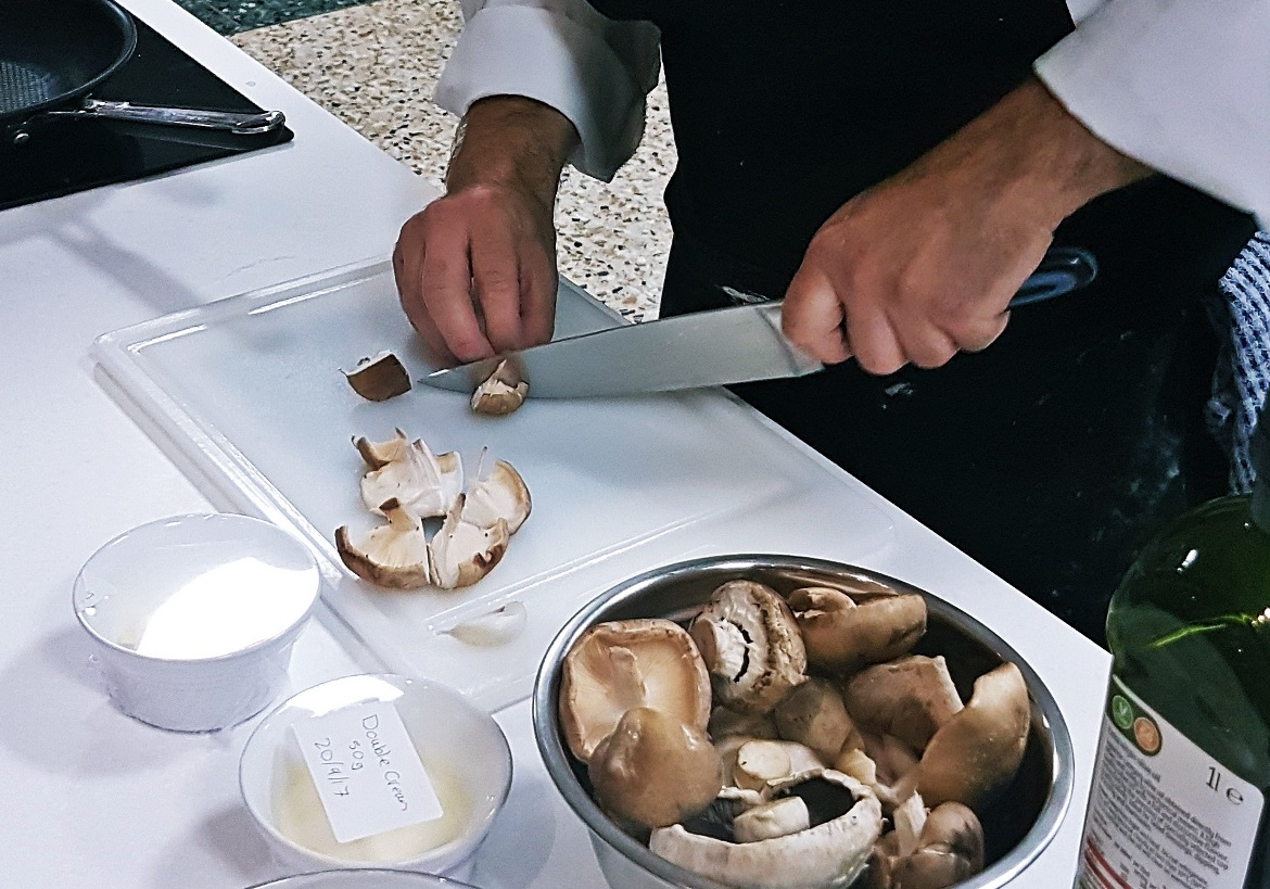 Chopping mushrooms - Leeds Cookery School review by BeckyBecky Blogs