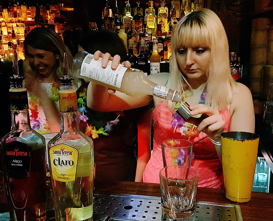 Hard concentration - Review by BeckyBecky Blogs of Mahiki Tiki Takecover at Tiki Hideaway with Leeds Loves Cocktails