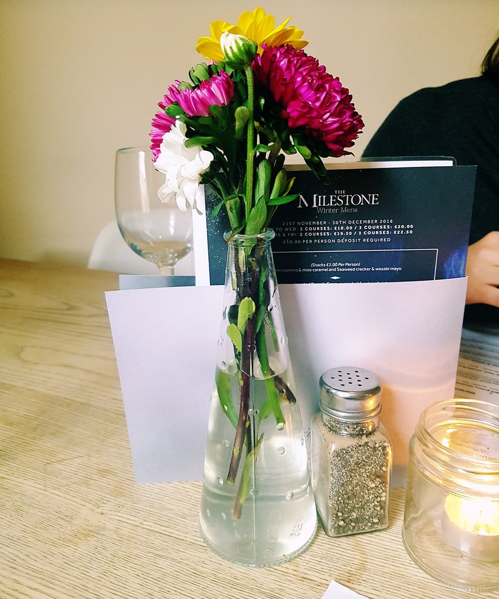 Flowers on the table at the Milestone Sheffield