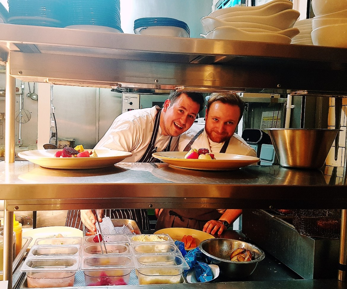 Chefs in the kitchen of the Milestone Sheffield