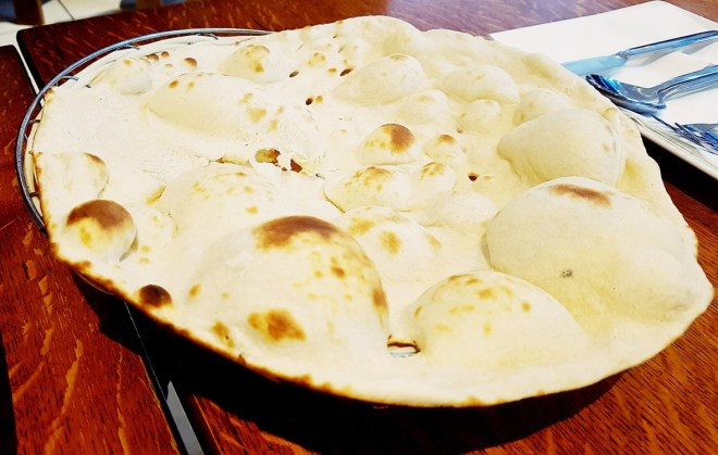 Naan bread at Safran Persian restaurant in Leeds