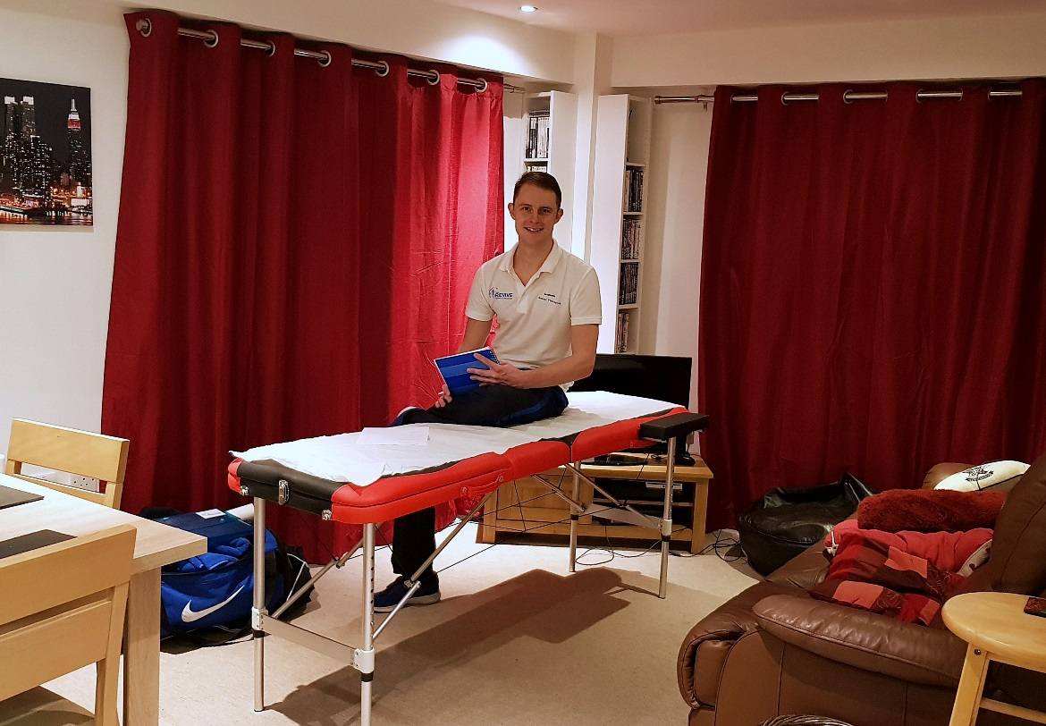 A sports massage setup in my living room - Deep Tissue Massage with Revive Sports Massage in Leeds by BeckyBecky Blogs