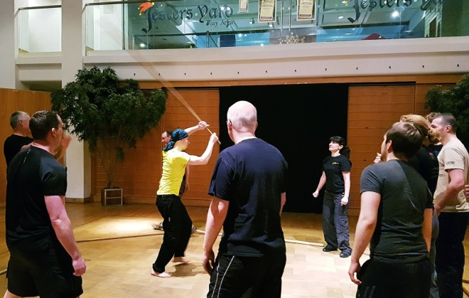 sword-fighting dodge the stick warmup