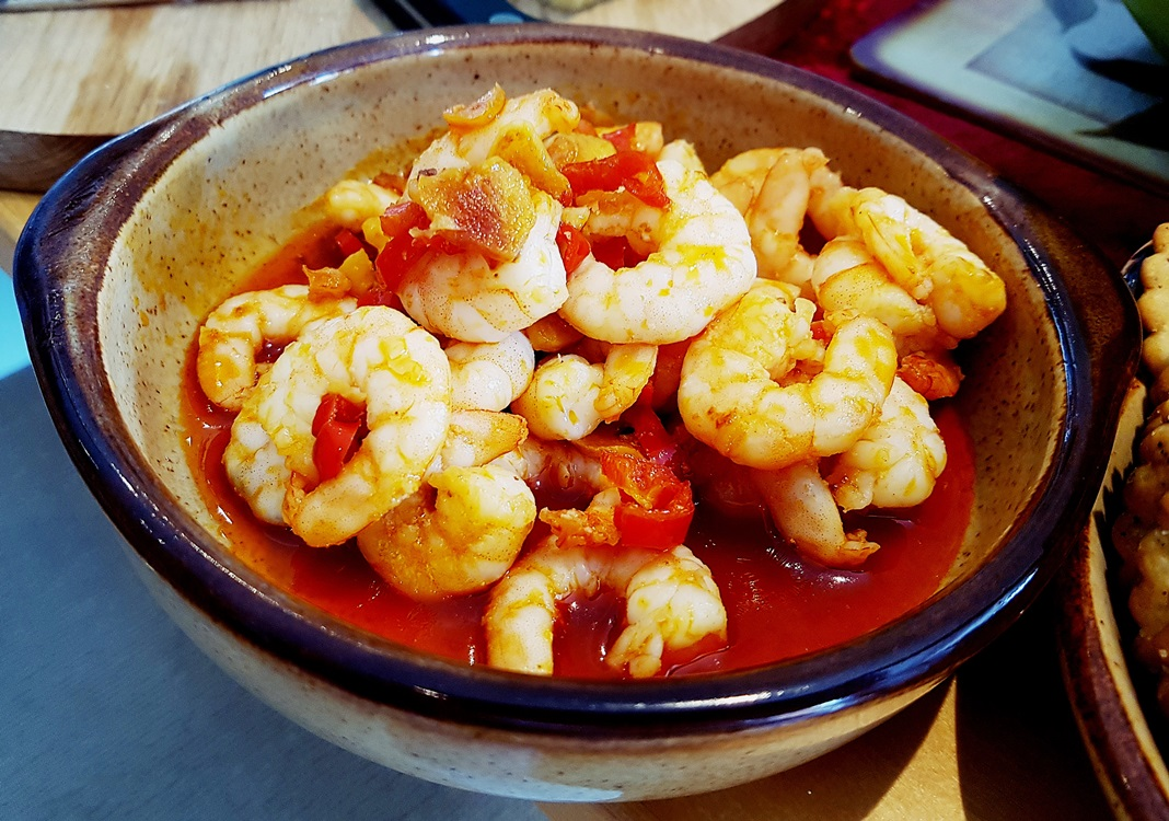 Prawns with chilli and garlic at our House Wimbledoning