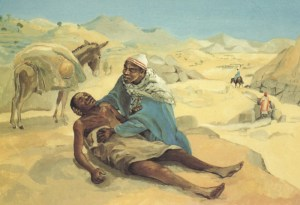 The Good Samaritan - Luke 10:25-37; Jesus Mafa, Camaroon, 1973; Held at Vanderbilt Divinity Library