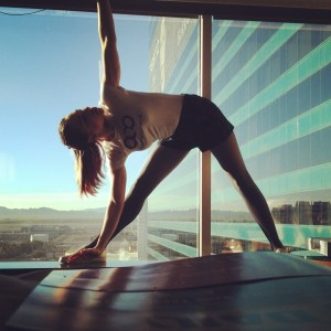Yoga pose, triangle in Vegas