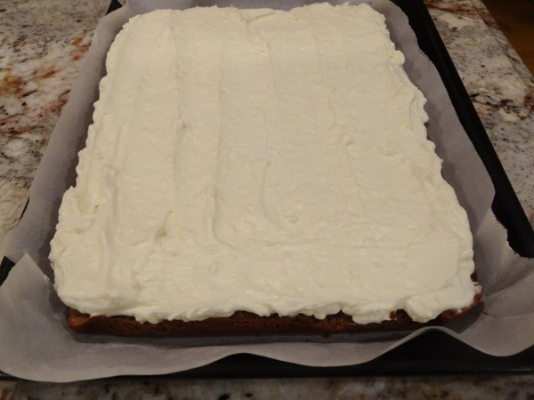 cheesecake filling added to brownie layer