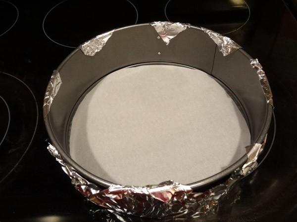 springform pan prepared for baking