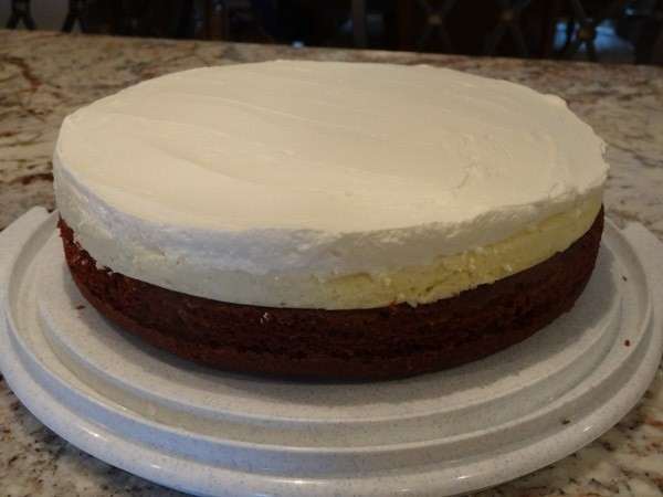 whipped cream added to cheesecake layer