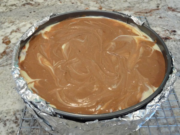 uncooked brownie cheesecake