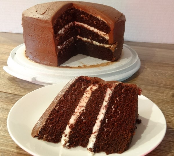 Chocolate Cake with Cream Cheese Filling and Chocolate Frosting