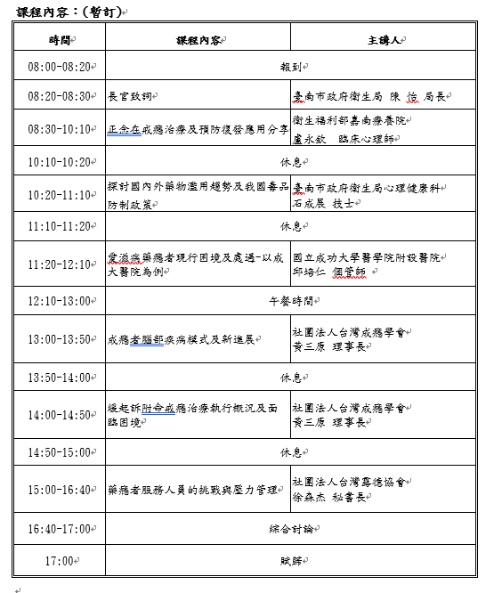 108年臺南市替代治療專業人員繼續教育訓練計畫活動日期:2019-07-13 - BeClass 線上報名系統 Online Registration Form