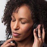 Karen Wilkins with headphones