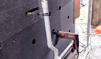 External wall insulation-cables and pipes